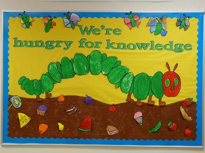 """The Very Hungry Caterpillar bulletin board.  """"Hungry for Knowledge"""""""