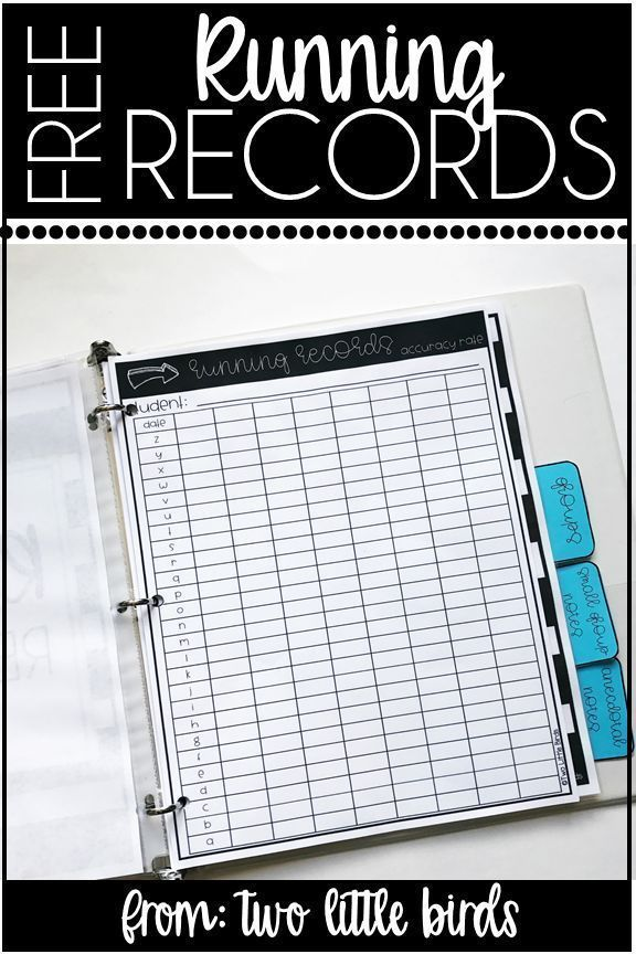 FREE Running Records Data Sheets To Help You Keep Track Of