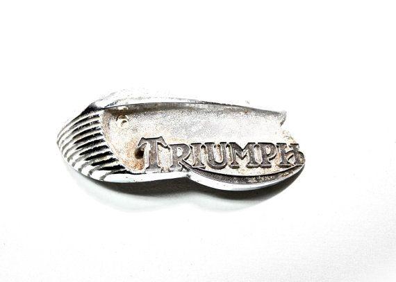 Vintage Triumph Motorbike Emblem Damaged by americanantique