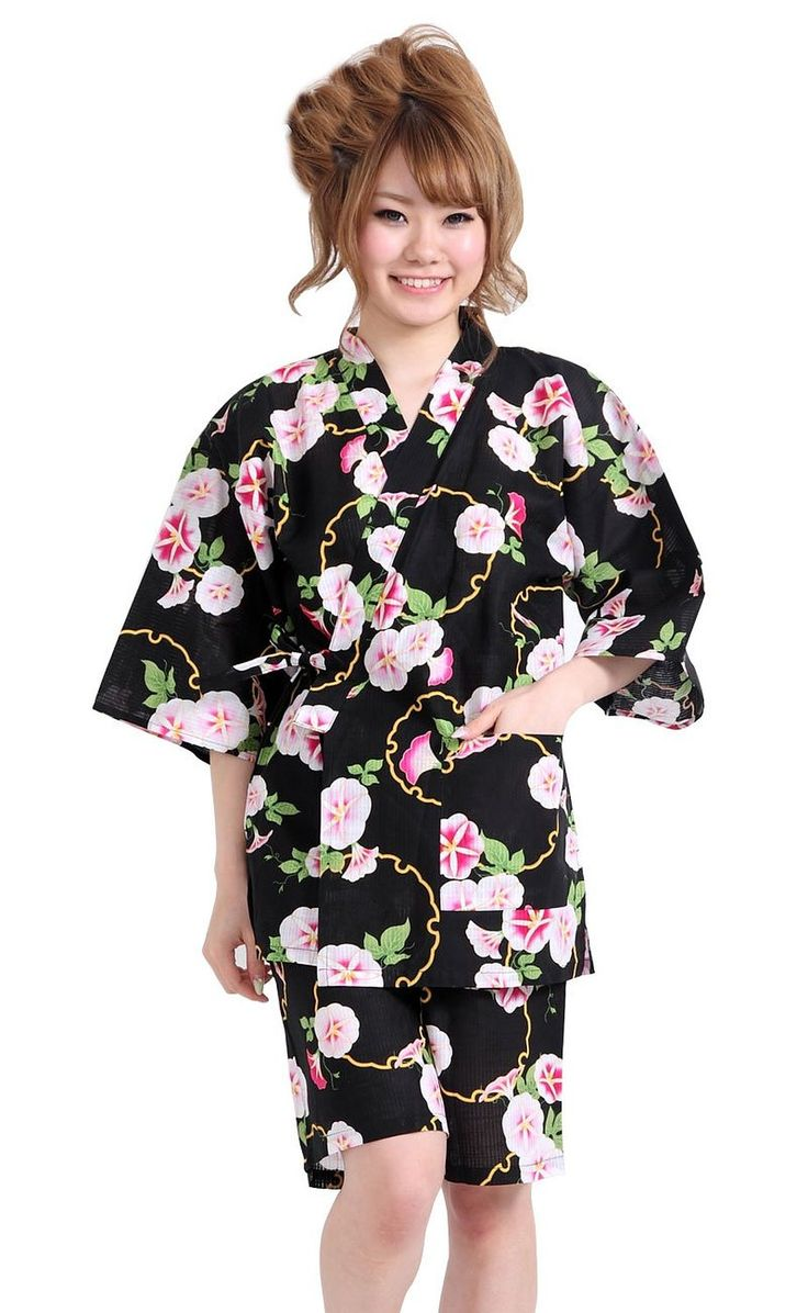 Amazon.co.jp: 【 黒地 / 朝顔 】 甚平 浴衣地 和柄 レディース LL 560-41: 服&ファッション小物