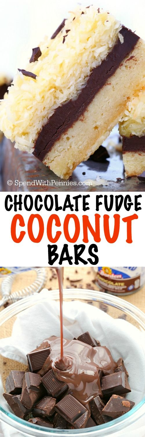 No mixer needed to make these chocolate fudge ripple coconut bars! Buttery cookie layer topped with rich chocolate fudge and lots of coconut make these bars absolutely irresistible!