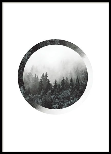 Print with photo art, photo of a forest in a circle. A motif which is both stylish and relaxing with the trees and the fog. Very nice on the wall and works in any room. Looks great with a typography print with a quote. www.desenio.co.uk