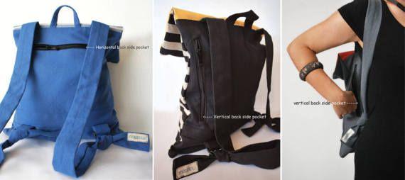 Nautical backpack Messenger bag Striped canvas por misirlouHandmade