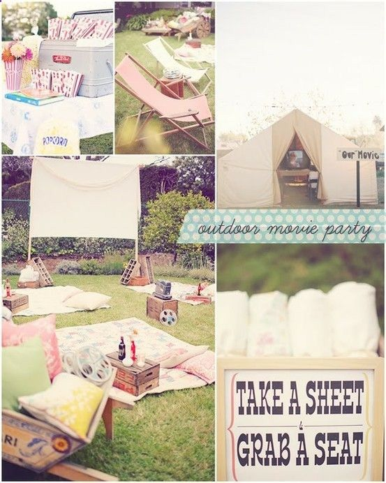 Outside Movie Party. A fresh take on the picnic wedding, or you could go for a more glamours look, think movie premier or festival. With a red carpet, paparazzi, champaign under the stars, twinkle lights...oh the ideas are endless.