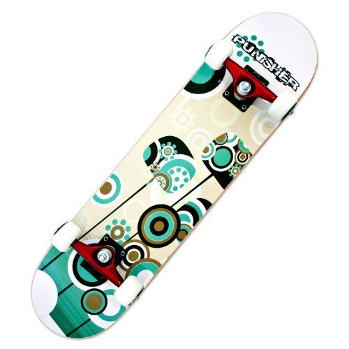 """Punisher Skateboards Essence Complete 31-Inch Skateboard with Canadian Maple by Punisher Skateboards. $49.37. From the Manufacturer                31"""" x 7.5"""" Double Concave Deck featuring Canadian Maple construction. This board has the second best available bearings, the wheels are ideal for pavement or a skate park, and the reinforced trucks are strong enough for an adult rider. Ideal for any skateboard enthusiast.  All Punisher Skateboards use world-class componen..."""