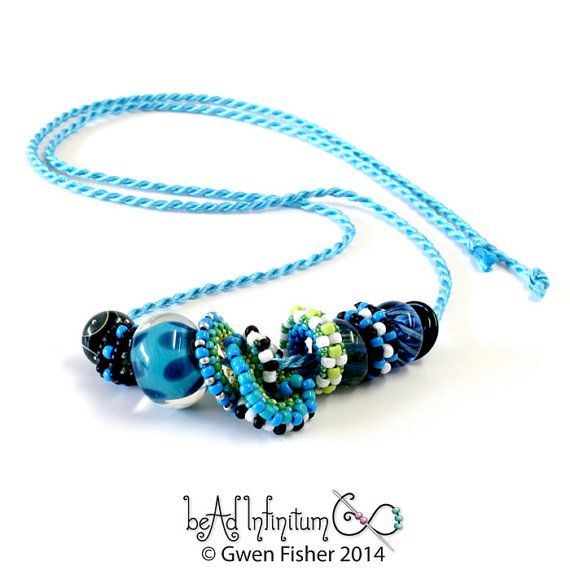 Nuts and Washers Beaded Beads Necklace in Blues with by gwenbeads