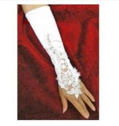 WAWO White Flowers Bridal Gloves Fingerless Satin Lace Pearl Wedding Party Prom