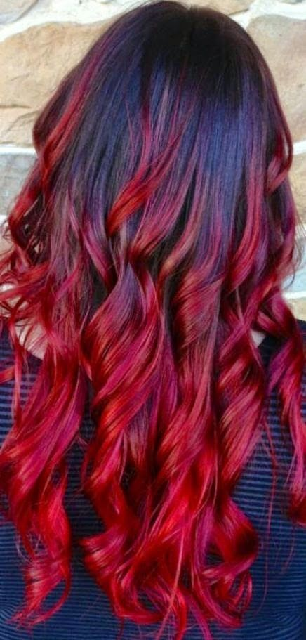 Red and black hair ombré - red black hairstyle