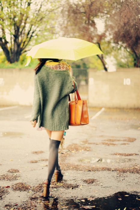 Rain: Yellow Umbrellas, Slouchy Sweaters, Rainy Day, Rainyday, April Shower, Over Sweaters, Sweaters Weather, Thighs High, Knee High Socks