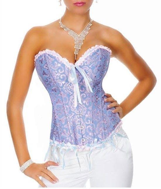 Espectacular Corsé Victoriano de color azul y rosa. El estilo Burlesco le da un toque muy sensual y único.  Código producto: HL1090