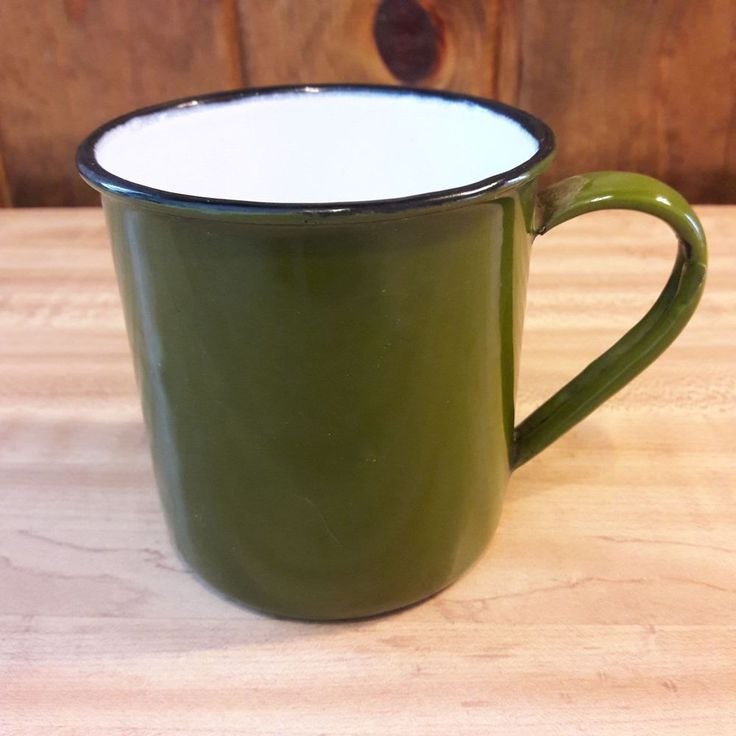 Vintage Primitive Looking Enamel Green Cup From Old-Time Farm Auction #1