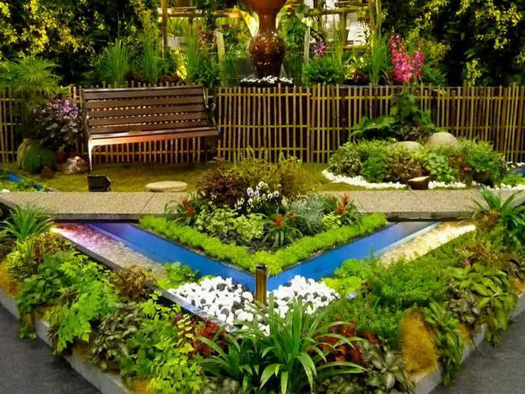 Beautiful Small Front Yard Garden Design Ideas Exciting Garden In Front Of  House Design With Benches Garden Beside Bamboo Fence Also Creative Plants  Shelf ...