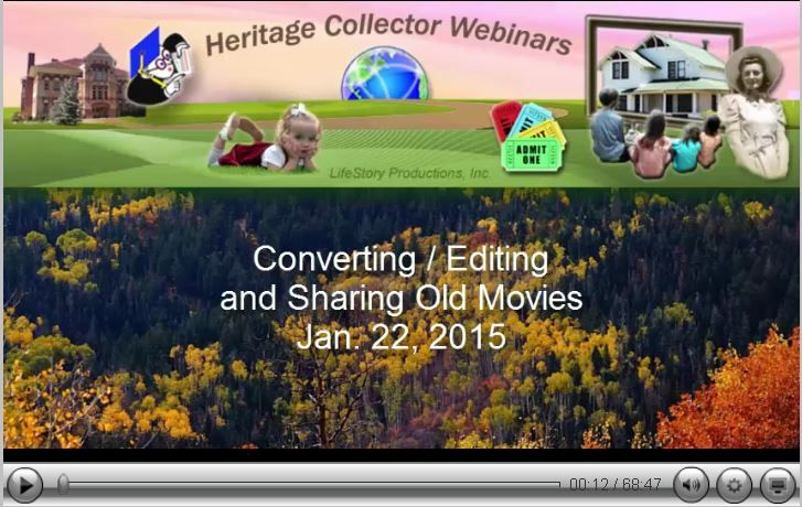 Editing and Using Old and New Video. Don't let the memories and fun times slip away. Learn how you can use and edit your old movies and VHS tapes. Watch this recorded webinar to learn the fun and interesting things you can do with your movies - new and old! It's free to watch. http://heritagecollector.com/Webinar/EditVideo/Jan22.html