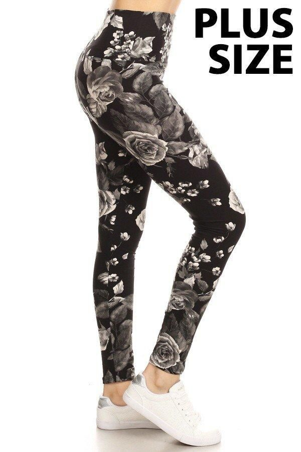 a5dbe91ec89b0 PLUS YOGA BAND Rose Print Brushed Ankle Leggings | Products | Floral ...