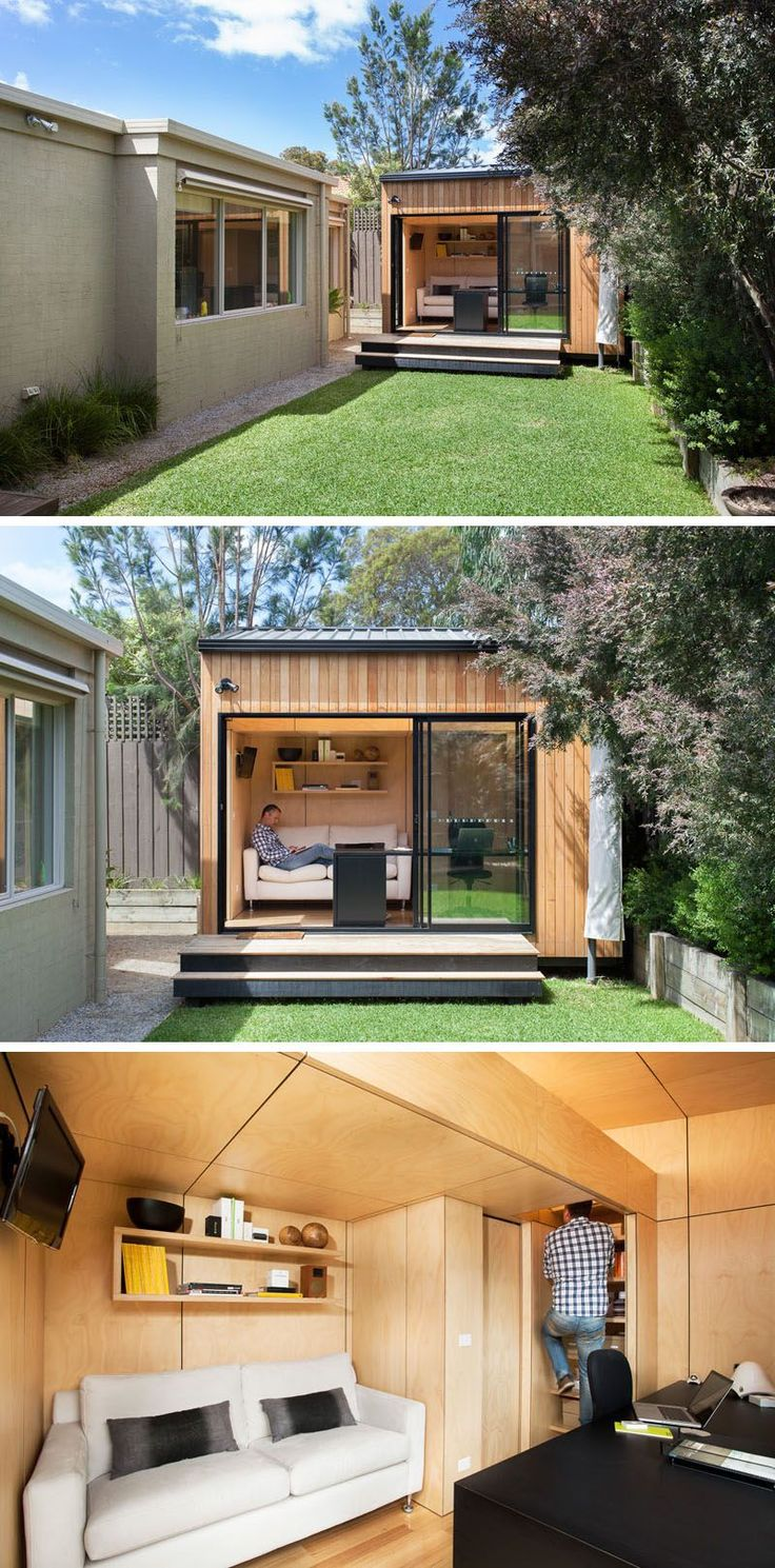 This small backyard studio has been carefully designed to accommodate a couch, a work space, and a lofted sleeping area to create the ultimate backyard hideout.