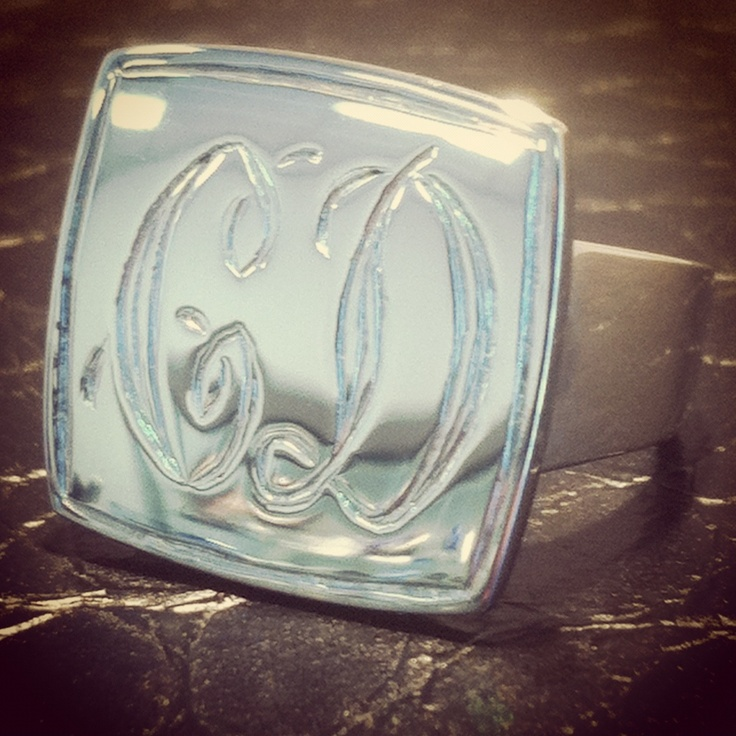 Square signet ring with hand engraving