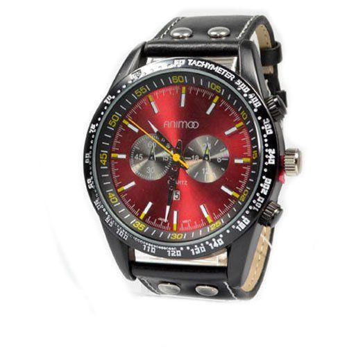 Animoo Herrenuhr in Schwarz Rot mit Lederarmband in Schwarz & Datumsanzeige, Klassisch und Elegant, Flieger Uhr - http://besteckkaufen.com/animoo/animoo-herrenuhr-in-schwarz-rot-mit-lederarmband