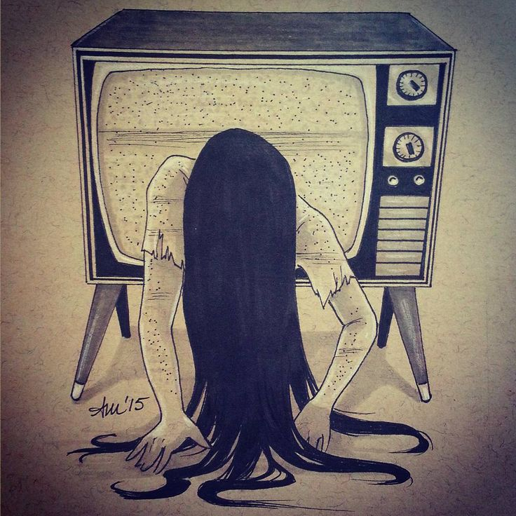 """""""#Drawlloween Day 7) Haunted House. I know, not a house here, but in a house! ;) Had more fun drawing a tv than I anticipated.."""" - The Ring, Samara"""