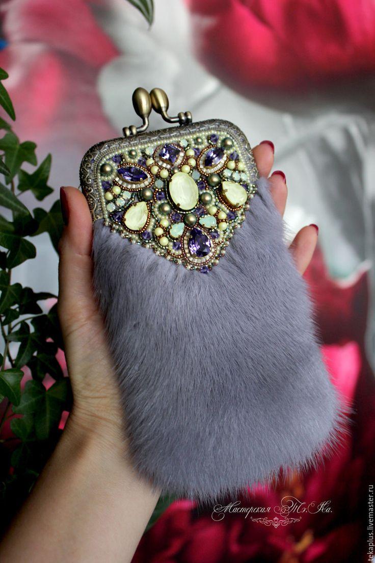 Купить Чехол для телефона из меха норки Солнечный прованс - серый, сапфировый, желто-фиолетовый