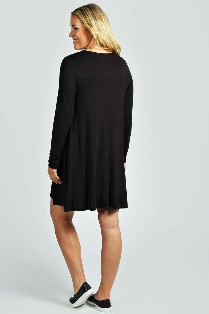 Plus Phillipa Long Sleeve Swing Dress at boohoo.com