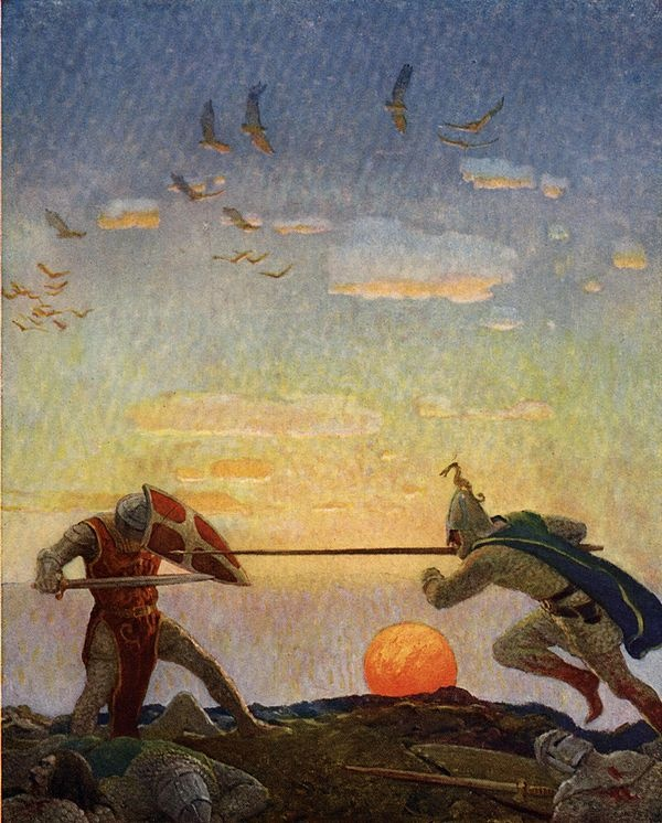 The death of Arthur and Mordred — N.C. Wyeth (1922)