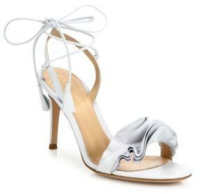Gianvito Rossi Ruffle Leather Ankle-Wrap Sandals - $661.50