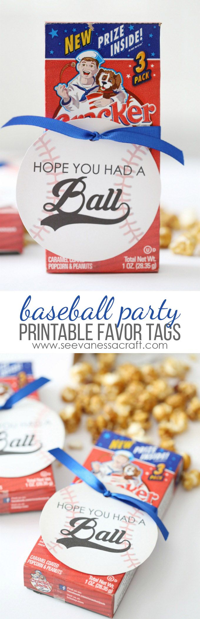 Free Printable Baseball Party Favor Tags - tie them on a box of cracker jacks or peanuts!
