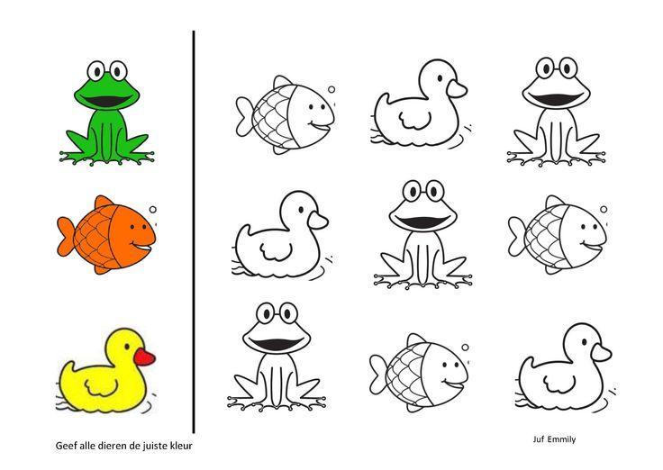 Geef de dieren de juiste kleur. Thema in en rond de vijver (Juf Emmily)