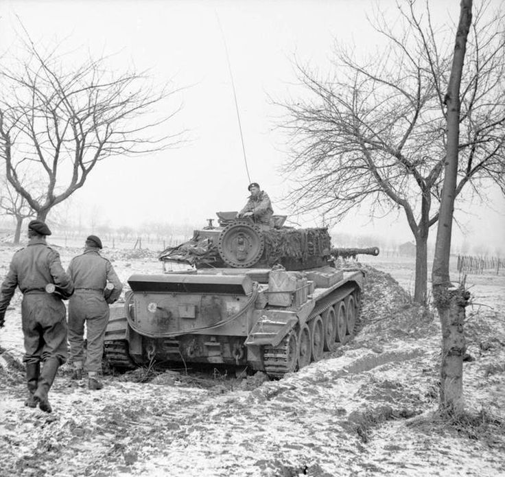 A British Cromwell tank of the 7th Armoured Division guards the front line near Sittard in the Netherlands.