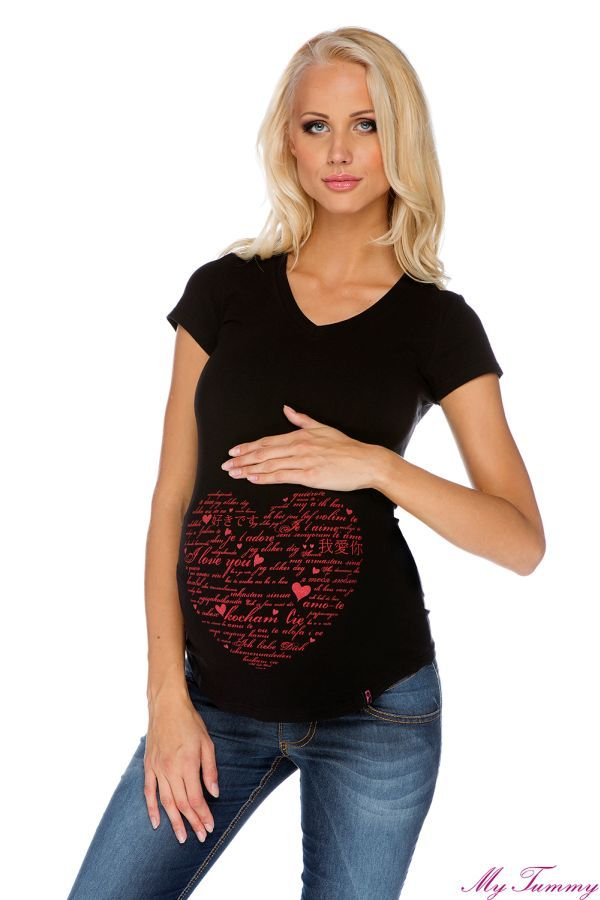 Tee-shirt de grossesse, noire. Mon coeur, I love You.