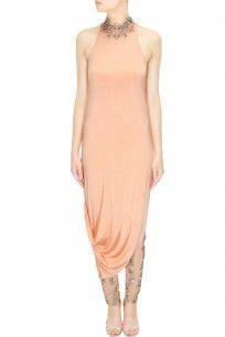 Pernia Qureshi - Peach asymmetric drape dress and crystal embellished pants