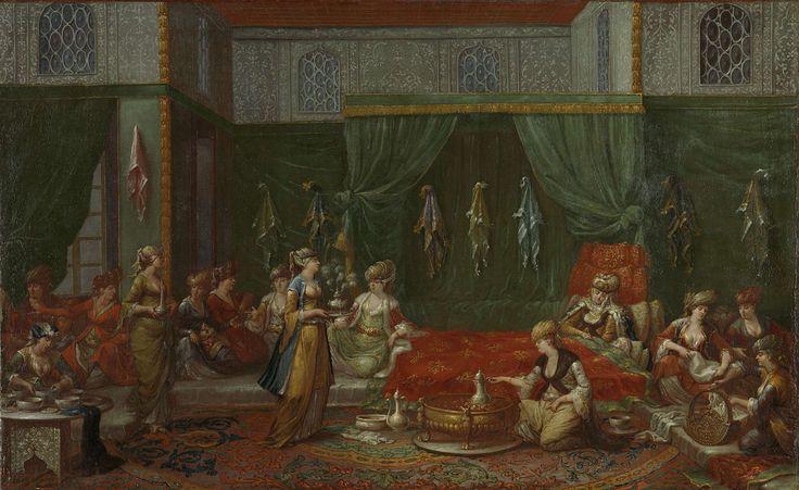 Jean Baptiste Vanmour   Lying-in Room of a Distinguished Turkish Woman, Jean Baptiste Vanmour, c. 1720 - c. 1737   In het huis van een welgestelde familie wordt kraambezoek ontvangen.  Op het komfoor in het midden wordt koffie gezet en links is een slavin alvast sorbet aan het maken. Na deze versnaperingen krijgt het bezoek rozenwater om de handen mee te wassen uit een sprenkelaar en parfum uit een soort verstuiver. De doeken die aan de muren hangen zijn geschenken van het kraambezoek.