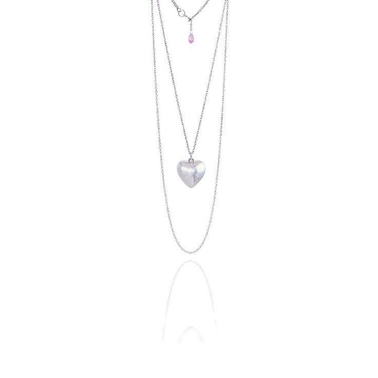 A charming twin silver chain necklace with a silver plated heart and sparkling rose pink Swarovski crystal clasp. www.jyjewels.com