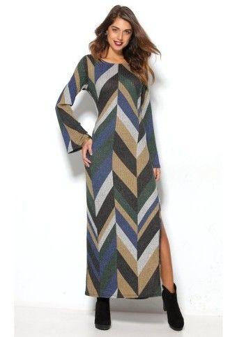 Dlouhé žebrované šaty s grafickým designem #ModinoCZ
