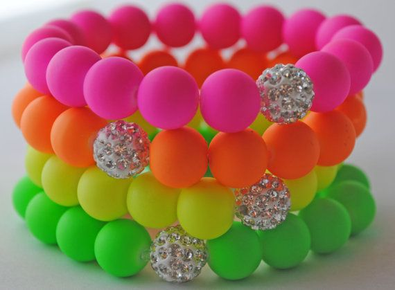 Summertime Neons stretch bracelet with Swarovski Diso Pave Beads $15.00