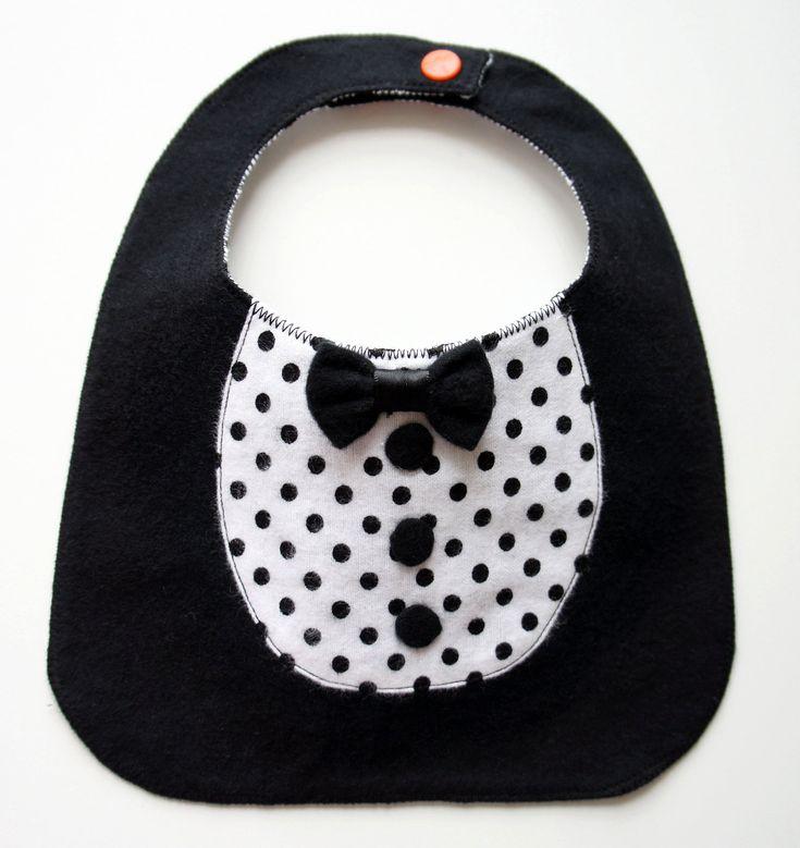 Tuxedos Baby Bib - Baby Suit- Cute dot- bow tie. $10.00, via Etsy.