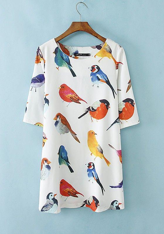 Multicolor Birds Print Half Sleeve Polyester Mini Dress