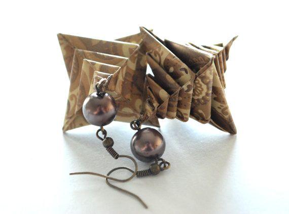 Origami Earrings Dangle Earrings Modern Earrings by MAGcraftsy, $16.99