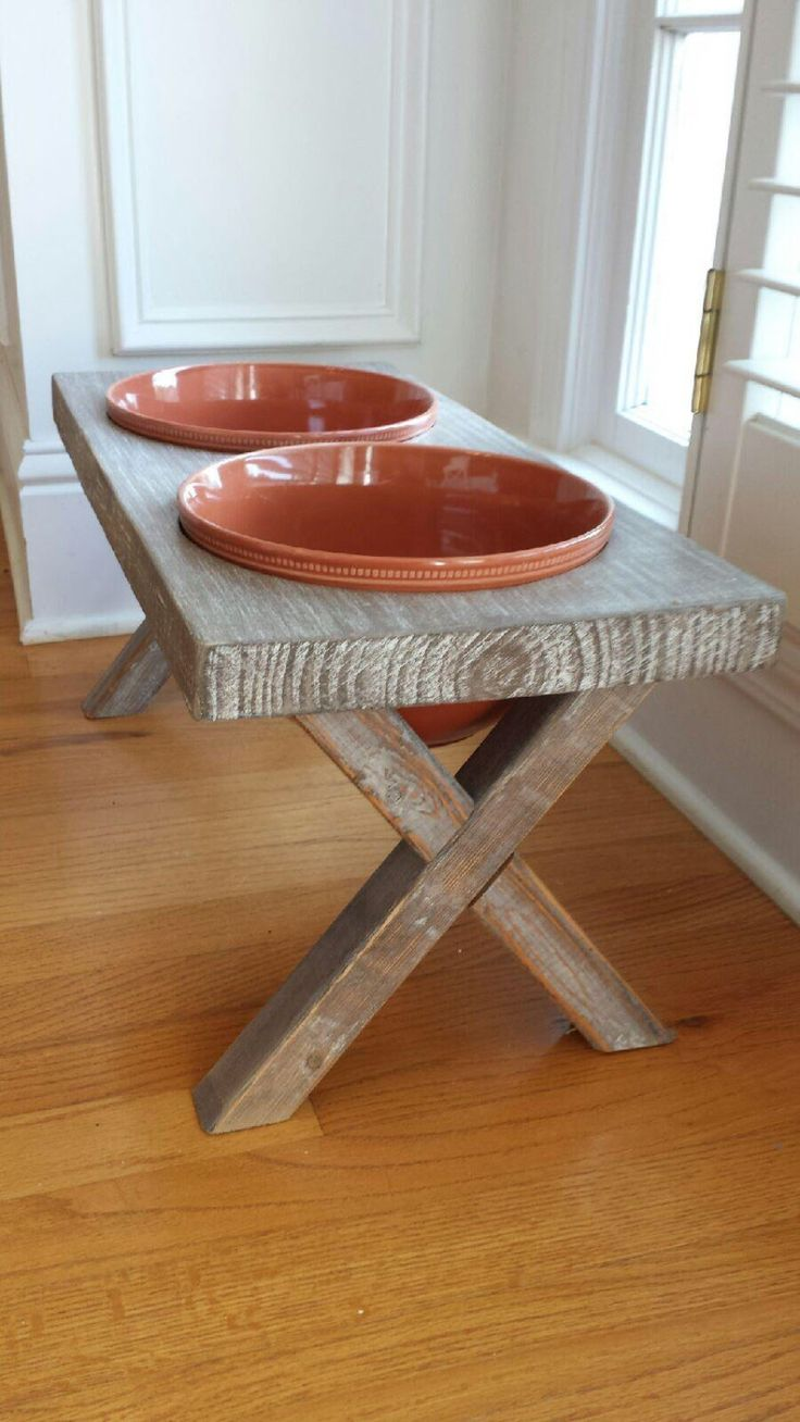 dish on shop bowl elevated wanelo feeders rustic bowls personalized dog custom feeder stand wooden