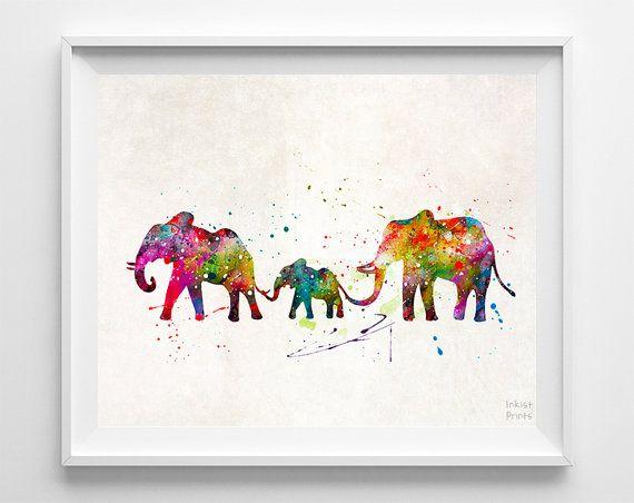 Elephants Print Animal Art Type 2 Watercolor Art by InkistPrints