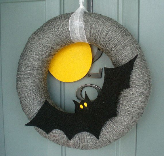 Yarn Wreath Felt Holiday Door Decoration - Halloween Moon and Bat 12in. $45.00, via Etsy.