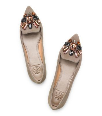 Tory Burch Embellished Suede Smoking Slipper - I wantttttttttttt