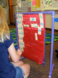 mini pocket chart stand and spelling center.Have Cody make, use both sides, cut spelling words into chunks and onsets