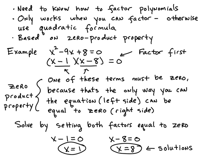 Factoring Solving equations, Quadratic equation