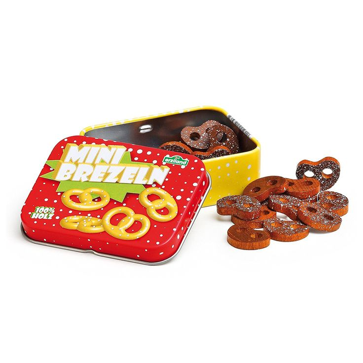 Erzi Mini-Brezeln in der Dose, Holzbreze, Spielbreze, aus Holz, Maße 7, 5 x 6 x 2, 5 cm, braun-rot: Amazon.de: Küche & Haushalt
