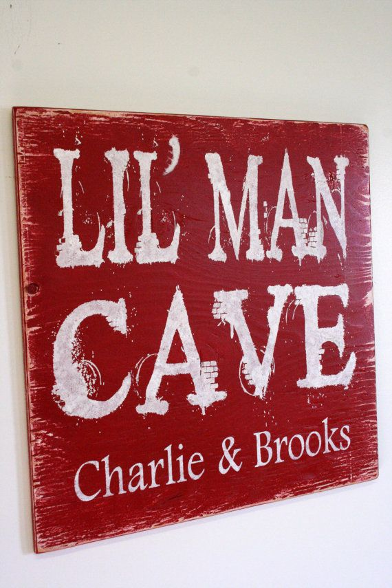 Lil Man Cave Boys Bedroom Sign Nursery Decor Distressed Wood Shabby Chic Decor Red Boys Bedroom Handpainted Sign Toyroom Sign