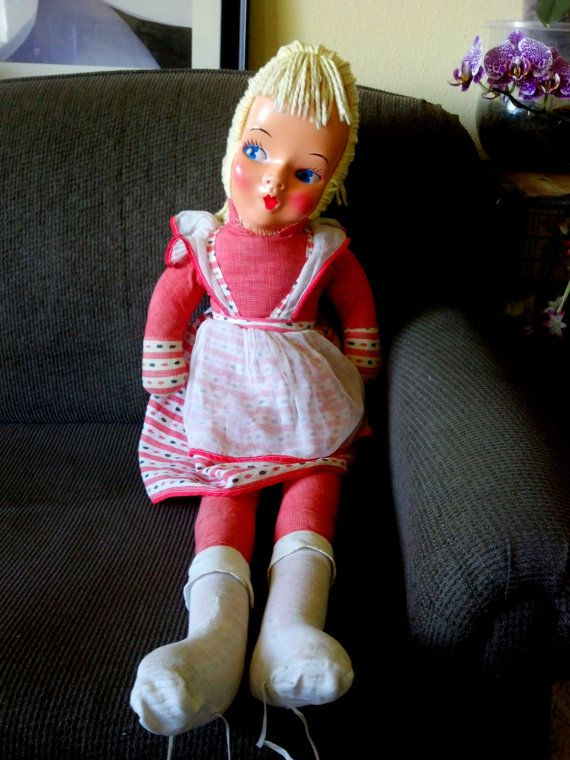 "Cloth Dancing Doll Vintage Mid Century Flirty Eyes Child Life Size 38"" Yellow Yarn Hair"