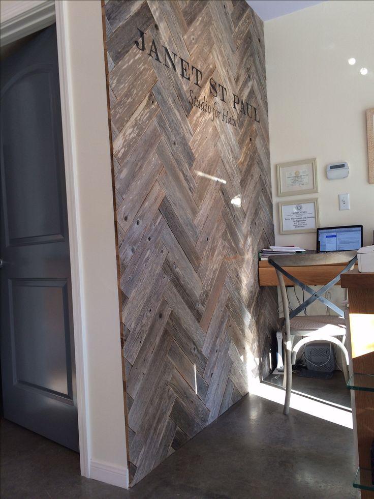 Herringbone pallet wood wall - this is happening in my office!!!