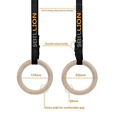 5BILLION Wood Gymnastic Rings - 32mm DIA - Olympic Gym Rings For Home Gym & Fitness - Great for Your Muscle Building, Ab Workout & Strength Training, Competition Equipment - Amazon Canada