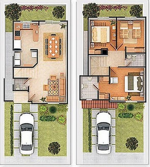 Planta de casas pequenas de dois andares com 11 cômodos